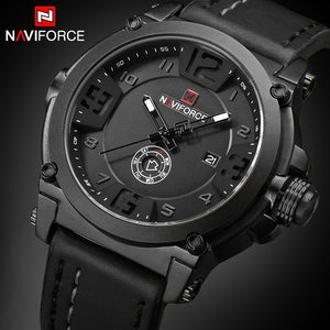 NAVIFORCE Top Luxury Brand Men Sports Military Quartz Watch Man Analog Date Clock Leather Strap