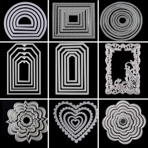 Metal Cutting Dies Circle Frame Stencils For DIY Scrapbooking Embossing Paper Wedding Cards Die Cuts Photo Album Making Craft