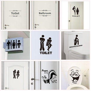 WC Toilet Entrance Sign Door Stickers For Public Place Home Decoration Creative Pattern Wall