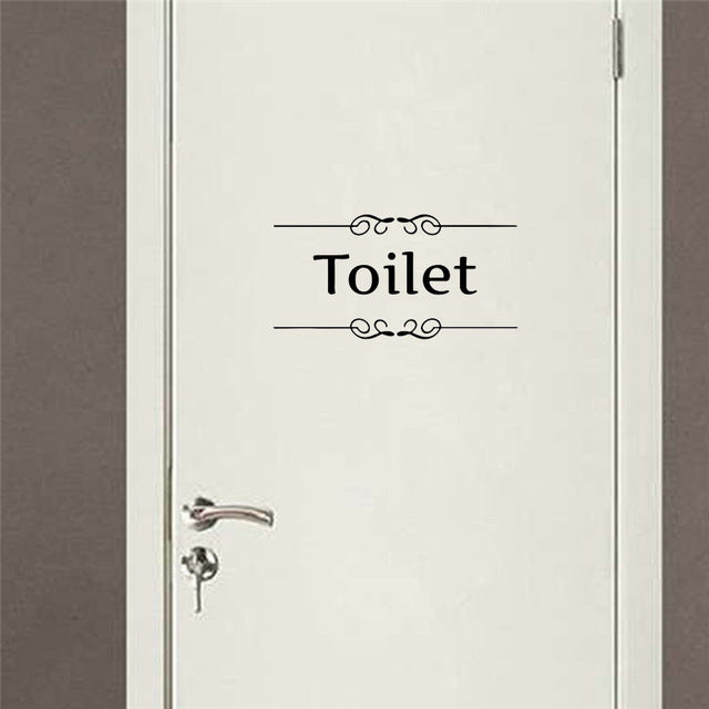 Door Removable Home Decoration Wall Sticker Art WC Bathroom Toilet Sticker Y