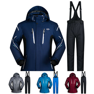 Ski Suit Men Winter Waterproof Windproof Thicken Warm Snow Clothes Men Ski Sets Jacket Skiing And