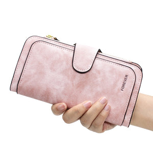 New Brand Leather Women Wallet High Quality Design Hasp Solid Color Card Bags Long Female Purse 4