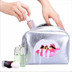 Do Not Miss Fashion Bling Bling Silver Lip PU Leather Toiletries Bag Zipper Storage Pouch Portable Women Travel Cosmetic Bag Kosmetikum