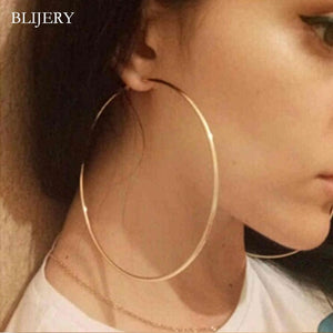 BLIJERY Trendy Large Hoop Earrings Big Smooth Circle Earrings Basketball Brincos Celebrity Brand