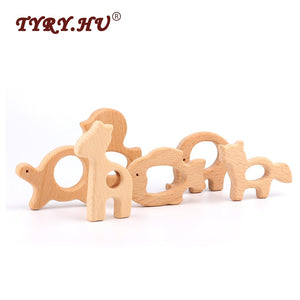 TYRY.HU Lovely Cartoon Wood Teether 1Pc Pure Natural Animal Shaped Baby Teething Nursing Beech Teether Baby Girl DIY Pendant Toy