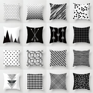 Geometric Cushion Cover Black and White Polyester Throw Pillow Case Striped Dotted Grid Triangular