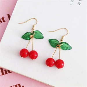 hot red Cherry earrings eardrop Sweet fruit fresh cherry eardrop female fashion youth beautiful girl