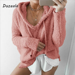 Autumn Top Women Casual Mohair Hooded Pullovers V Neck Fleece Sweater Fashion Sweet Loose Warm