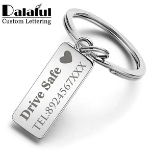 Custom Engraved Keychain For Car Logo Name Stainless Steel Personalized Gift Customized Anti-lost