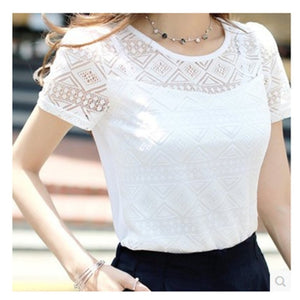 Summer Women White Lace Blouse Short Sleeve Plus Size Korean Crochet Round Neck Hollow Out Tops