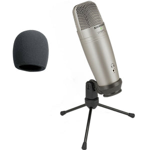 Samson C01U Pro USB Studio Condenser Microphone with Real-time monitoring large diaphragm