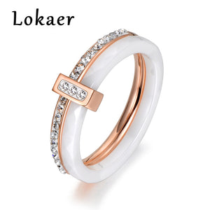 Lokaer 2 layers Black/White Ceramic Crystal Wedding Rings Jewelry Rose/White Gold Color Stainless Steel Rhinestone Engagement