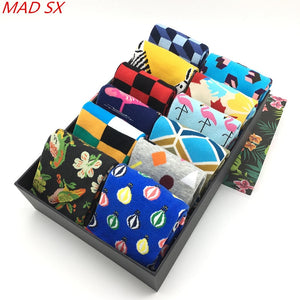 5 pair/lot Men's Cool Colorful Fancy Novelty Funny Patterned Design Dress socks Crazy Fashion Combed