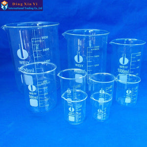 Capacity 50ml-3000ml Low Form Beaker Chemistry Laboratory Borosilicate Glass Transparent Beaker