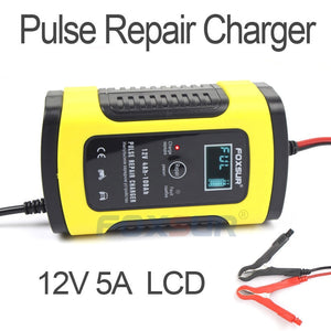 FOXSUR 12V 5A Pulse Repair Charger with LCD Display, Motorcycle & Car Battery Charger, 12V AGM GEL