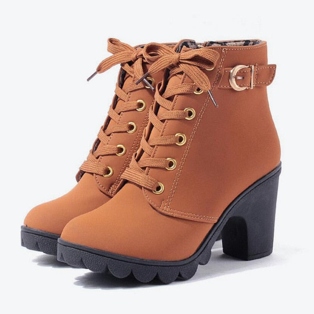 MCCKLE Plus Size Ankle Boots Women Platform High Heels Buckle Shoes Thick Heel Short Boot Ladies