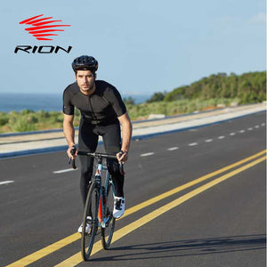 RION Cycling Men's Bike Black Reflective Jerseys Short Sleeves Summer Motocross Mountain Bike