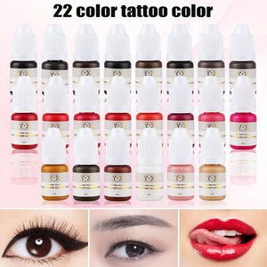 22 Color Semi Permanent Makeup Eyebrow Inks Lips Eye Line Tattoo Color Microblading Pigment