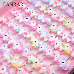 FANRAR 20PCS/Lot Kids Rings Lovely Animal Unicorn Horse Open Ring For Children Girls Adjustable