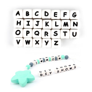TYRY.HU 10pcs English Alphabet Silicone Letter Bead DIY Baby Teething beads Teether Toy Necklace