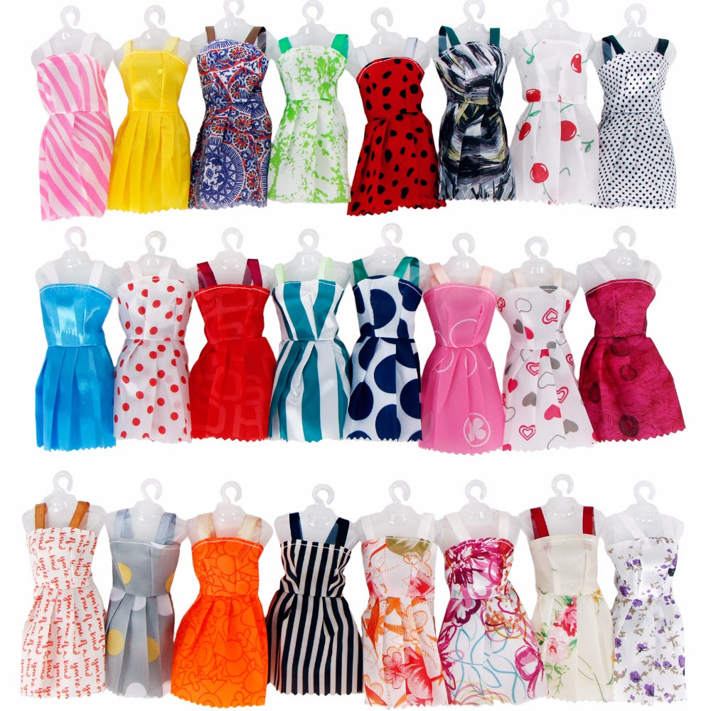 Random 12 PCS Mixed Sorts Handmade Different Colourful Fashion Dress Cute Cool Clothes For Barbie