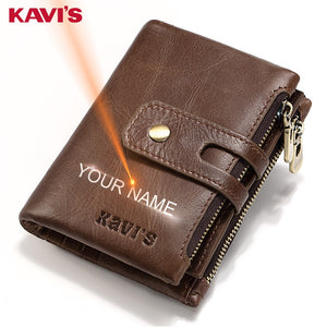 KAVIS Free Engraving Name Genuine Leather Wallet Men PORTFOLIO Gift Male Cudan Portomonee Perse Coin