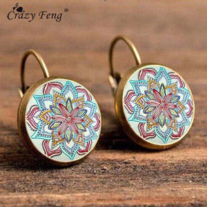 Crazy Feng Boho Flower Drop Earrings For Women Vintage Jewelry Geometric Pattern Round Earings