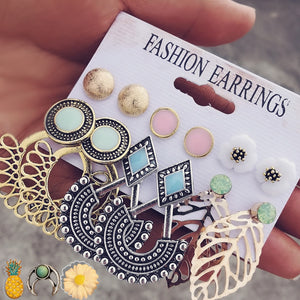 IF ME Vintage Stud Earrings Set Mixed for Women Bohemian Gold Color Leaf Flower Stone Statement Hang
