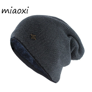 New Fashion Adult Men Winter Warm Hat For Unisex Knitted Casual Beanies Skullies Cotton Wool Hats