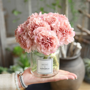 pink silk hydrangeas artificial flowers wedding flowers for bride hand silk blooming peony fake
