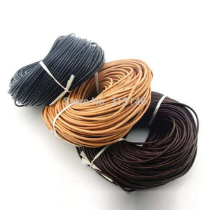 100% Genuine Leather Round Thong Cord Leather Cord String Rope for DIY Necklace Bracelet DIY Jewelry