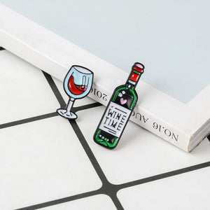 Wine Time Mini Cute Wine And Wine Glasses Couple Pins Red Wine Bottle cup Brooches Enamel Pin Badge For Lovers Best Friend Pins