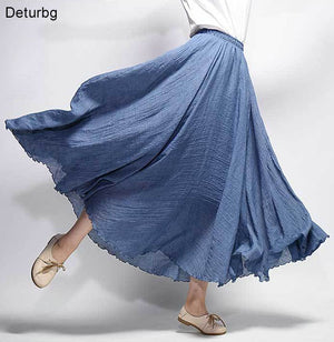 Women's Elegant High Waist Linen Maxi Skirt 2018 Summer Ladies Casual Elastic Waist 2 Layers Skirts saia feminina 20 Colors SK53