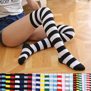 Women Girls Over Knee Long Stripe Printed Thigh High Striped Cotton Socks 22 Colors Sweet Cute