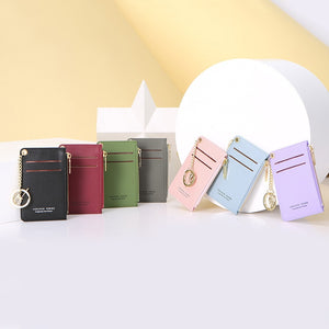 Brand Card Holder Women Soft Leather Key Chain Bag Small Card Wallets Female Organzier Mini Credit
