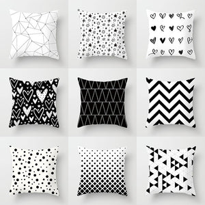 YWZN Black and White Geometric Decorative Pillowcases Polyester Throw Pillow Case Striped
