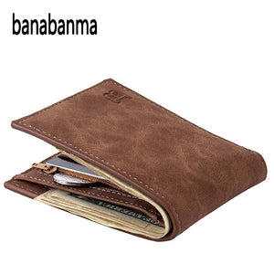 Men Wallet Short Bifold PU Leather Men Purses Fashion multifunction Coin Bag Zipper Small Money
