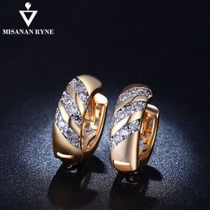 MISANANRYNE Classic Design Gold Color AAA CZ Wedding Hoop Earrings for Women Fashion jewelry