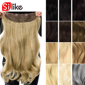 Silike 190g 24 inch Stretched Wavy Clip in Synthetic Hair Extensions Heat Resistant Fiber 4 Clips