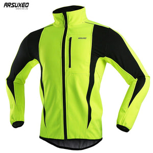 ARSUXEO Thermal Cycling Jacket Winter Warm Up Bicycle Clothing Windproof Waterproof Soft shell