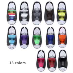 16pcs/lot Silicone Shoelaces Elastic Shoe Laces Special No Tie Shoelace for Men Women Lacing Rubber Zapatillas 13 Colors