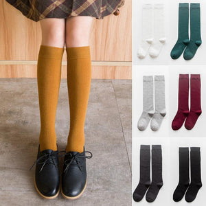 1 Pair Women's Socks Autumn Winter Fashion Long Socks Preppy Style Knee Socks Solid Color High