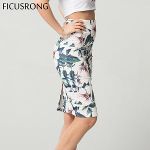 Fashion Spring Summer Style Pencil Skirt Women High Waist Green Skirts Vintage Elegant Bodycon Floral Print Midi Skirt FICUSRONG