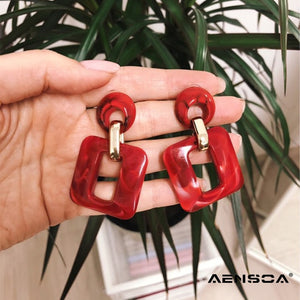 AENSOA New Square Acrylic Drop Earrings For Ladies Trendy Dangle Earrings For Women Statement