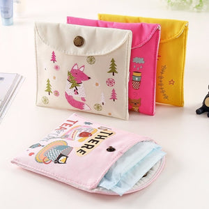 Girls Diaper Sanitary Napkin Storage Bag Canvas Sanitary Pads Package Bags Coin Purse Jewelry