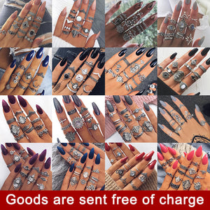 Fashion vintage ring boho variety ladies ring multi-element combination ring set national wind girl gift 2018