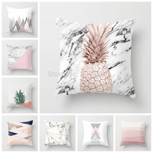 ZENGIA Pink Geometric Nordic Cushion Cover Tropic Pineapple Throw Pillow Cover Polyester Cushion