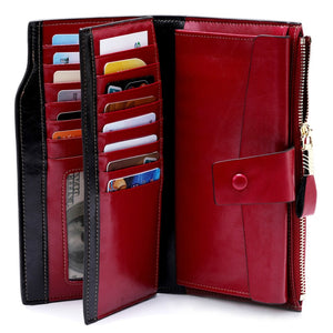 Fashion Genuine Leather Women Wallet Female Cell Phone Pocket Long Women Purses Hasp Oil Wax Leather
