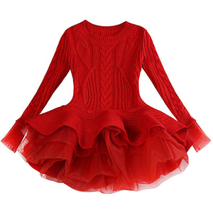 Thick Warm Girl Dress Christmas Wedding Party Mini Dresses Knitted Chiffon Winter Kids Girls Clothes Children Clothes Girl Dress