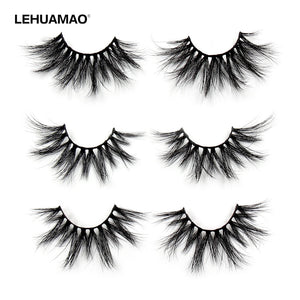 LEHUAMAO 25mm Eyelashes 5D Mink False Eyelashes Crisscross Strands Cruelty Free High Volume Mink